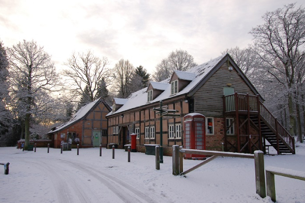 Queenswood Visitor Center in snow - Herefordshire Council